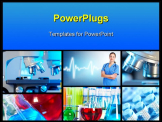 PowerPoint Template - Scientific background collage. Medical research.