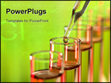 PowerPoint Template - Pipette with emerging drop over test tubes in a research lab