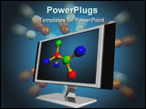 PowerPoint Template - 3d illustration of lcd screen for computer