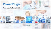 PowerPoint Template - Science team working with microscopes at laboratory