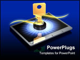 PowerPoint Template - d illustration of large brass key protruding out of a silver touch screen tablet computer on a dark