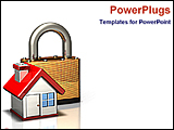 PowerPoint Template - icon of a lock and house for security