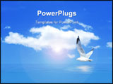 PowerPoint Template - A Seagull flying over water with clouds