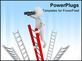 PowerPoint Template - earch concept representing 3D man climbing to the top of a ladder and searching with the help of bi