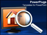 PowerPoint Template - A graphic magnifying glass over a picture of a home.