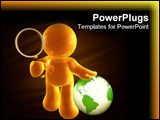 PowerPoint Template - Searching the internet world for solutions icon figure illustration