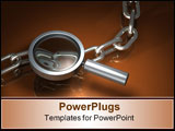 PowerPoint Template - 3d illustration of a simple magnifying glass hovering over top of a chrome metallic chain