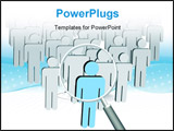 PowerPoint Template - A magnifying Glass to search a group company or population of symbol people to find a leader