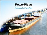 PowerPoint Template - sea ship in the port and copyspace for text