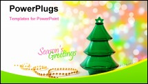 PowerPoint Template - Plastic christmas tree with golden beeds on a colorful bokeh background
