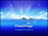 PowerPoint Template - Pair jumping dolphin on background rising sun