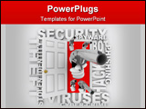 PowerPoint Template - n open door with hands holding guns surrounded by words like cyber-crime stolen identity virus phis