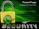 PowerPoint Template - 3d render of a padlock for security access