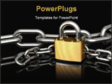 PowerPoint Template - d illustration of a brass padlock sitting in front of two strings of chrome chains on a black refle