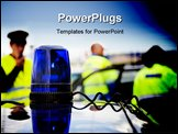 PowerPoint Template - lue flashing light on the roof of an unmarked police car, with a policeman and two paramedics in th