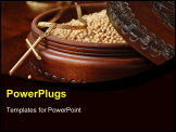 PowerPoint Template - Tiny mustard seeds (symbol of faith) in decorative wooden box with gold cross pendant on wood background. Macro with shallow dof. Selective focus on cross with single seed on table.