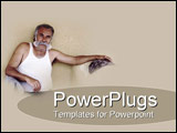 PowerPoint Template - Tanned aged man sporting healthy full grey moustache leans back ready to talk story