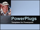 PowerPoint Template - Grinning broadly  this elderly gentleman shows he loves his mobile phone