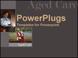 PowerPoint Template - With the theme of aged care  an elderly man and a a woman each relax in their own way