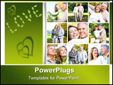 PowerPoint Template - Happy elderly seniors couple in park. Love
