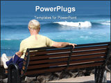 PowerPoint Template - Senior woman watching a surfer sitting and relaxing