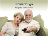 PowerPoint Template - Seniors watching television together and switching channels. White background.