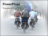 PowerPoint Template - Seniors cycling in the street.
