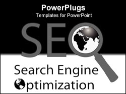 PowerPoint Template - SEO Magnifying Glass symbol of world wide web internet Search Engine Optimization.