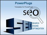 PowerPoint Template - SEO elements Magnifying Glass Search Engine Optimization icon and BIG letters.