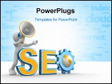 PowerPoint Template - 3d people - human character person with a megaphone and word Seo. Gear mechanism and earth globe. 3d render