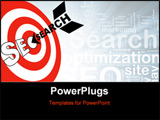 PowerPoint Template - A search engine optimization arrow hits the target market SEO bulls eye
