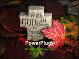 PowerPoint Template - leaves of fall with rock cross and spiritual saying engraved on it