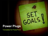 PowerPoint Template - Set goals - motivational reminder on post note nailed to wooden plank or wall