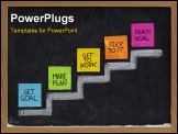 PowerPoint Template - et goal make plan work stick to it reach concept presented on blackboard with color notes and white