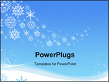 PowerPoint Template - Various shapes and sizes of snowflakes over blue background