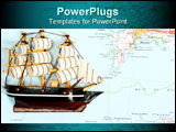 PowerPoint Template - Model of ship on background of map
