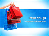 PowerPoint Template - Shopping bags in a hand isolated over white background