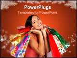 PowerPoint Template - christmas shopping pretty woman with shopping bags