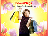 PowerPoint Template - Shopaholic woman shopping with colorful bags isoalted on white