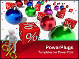PowerPoint Template - Red cubes with a symbol of percent and christmas balls