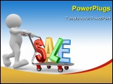 PowerPoint Template - Shopping Cart - 3d people - human character person with shopping cart and word sale. 3d render