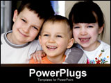 PowerPoint Template - two brothers and sister smiling for camera