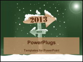 PowerPoint Template - A wooden sign showing the way to 2013 from 2012. New Year