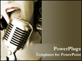 PowerPoint Template - A retro singer with her microphone.