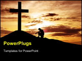 PowerPoint Template - A man making a confession to the cross shot under dawn sky