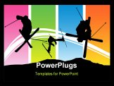 PowerPoint Template - Abstract colorful illustration with skiers skiing and jumping for poster or card