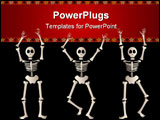 PowerPoint Template - hree spooky skeletons jump and dance around - bordered by black and orange elements - great for hal