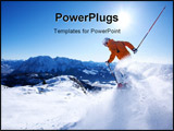 PowerPoint Template - skier in powder snow in wonderful mountain scape
