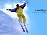 PowerPoint Template - Man skiing down steep slope
