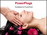PowerPoint Template - masseuse does relax facial massage to the girl